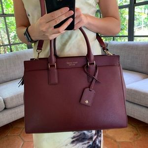 LARGE SATCHEL CAMERON CHERRYWOOD KATE SPADE MAROON